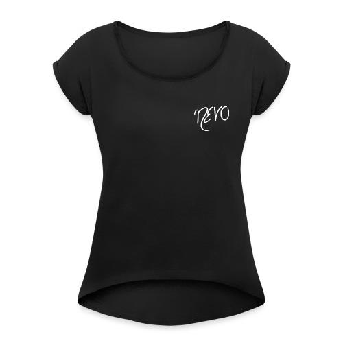 white NEVO - Frauen T-Shirt mit gerollten Ärmeln