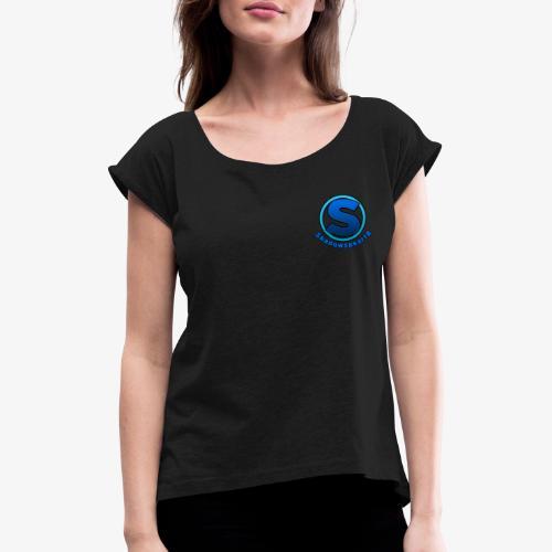 Shadowspear18 Logo+Schrift - Frauen T-Shirt mit gerollten Ärmeln