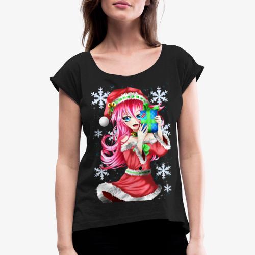 navidad - Camiseta con manga enrollada mujer
