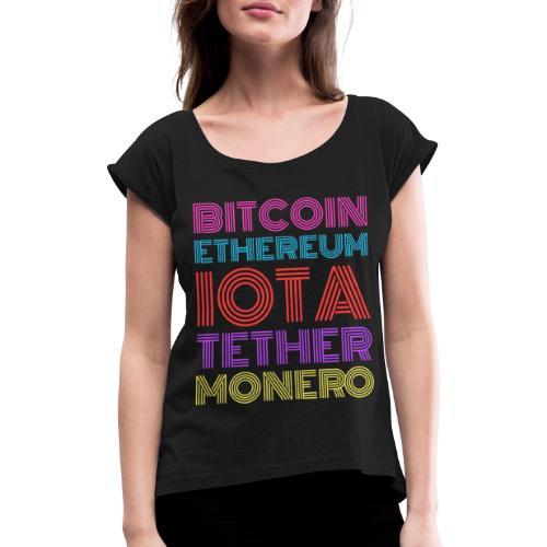 Retro Crypto | Bitcoin, Ethereum, IOTA, Tether - Frauen T-Shirt mit gerollten Ärmeln
