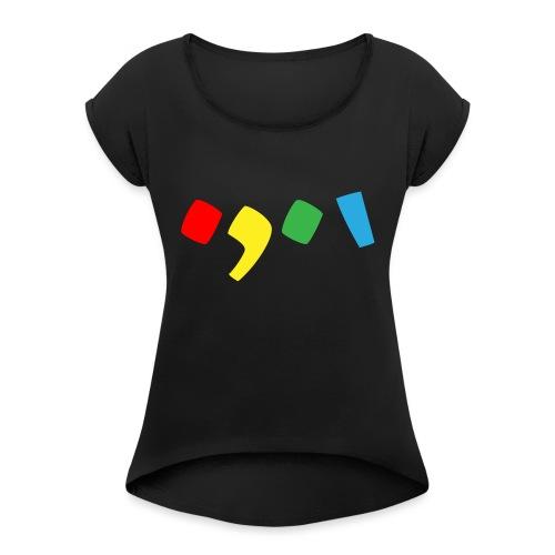 Tjien Logo Design - Accents - Vrouwen T-shirt met opgerolde mouwen
