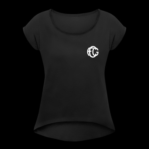 FCG Schriftzug - Frauen T-Shirt mit gerollten Ärmeln