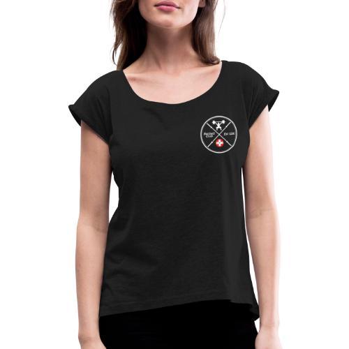 Barbell Club Deluxe _white - Frauen T-Shirt mit gerollten Ärmeln