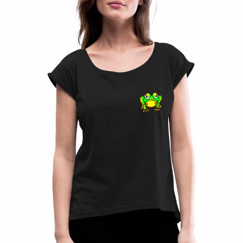 Boze kikker - Vrouwen T-shirt met opgerolde mouwen