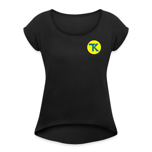 tk ohne text - Frauen T-Shirt mit gerollten Ärmeln