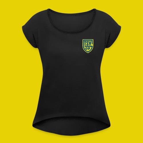 logo klein 700x896 - Frauen T-Shirt mit gerollten Ärmeln