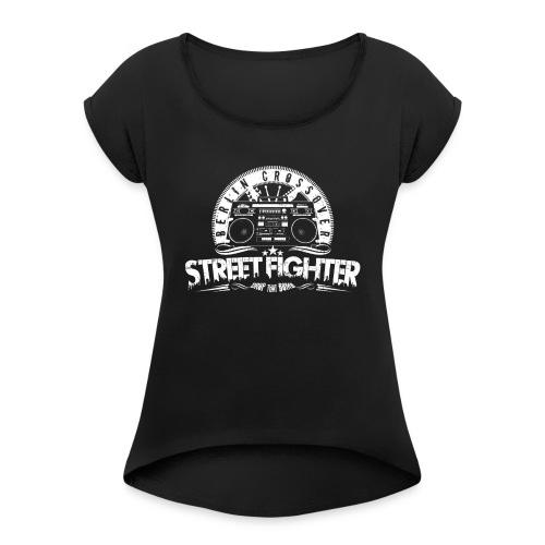 Street Fighter Band (White) - Frauen T-Shirt mit gerollten Ärmeln