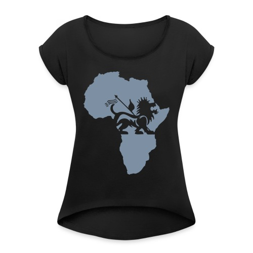 lion_of_judah_africa - Women's T-Shirt with rolled up sleeves