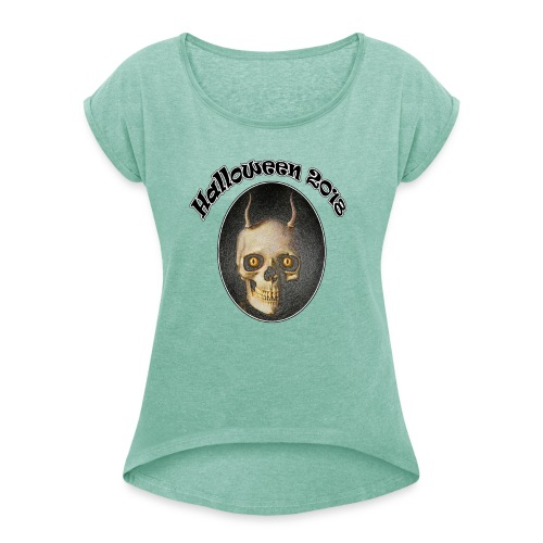 Halloween 2018 Horned Devil Skull - Women's T-Shirt with rolled up sleeves