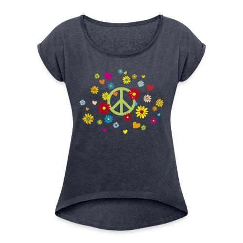 Peacezeichen Blumen Herz flower power Valentinstag - Women's T-Shirt with rolled up sleeves