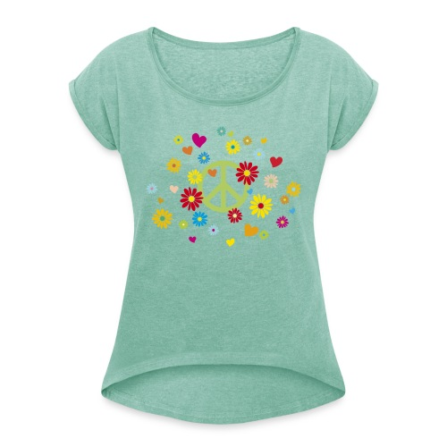 Peacezeichen Blumen Herz flower power Valentinstag - Women's T-Shirt with rolled up sleeves