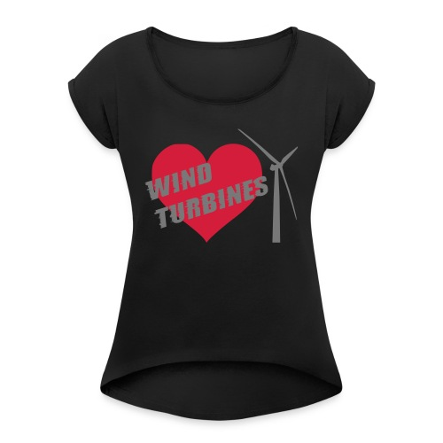 wind turbine grey - Women's T-Shirt with rolled up sleeves