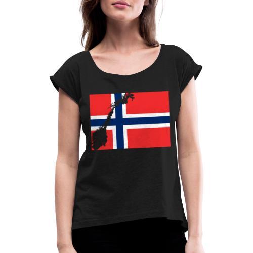 Norges Flagg - Frauen T-Shirt mit gerollten Ärmeln