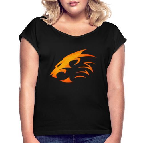 Rian The Lion Orange Logo - T-shirt med upprullade ärmar dam