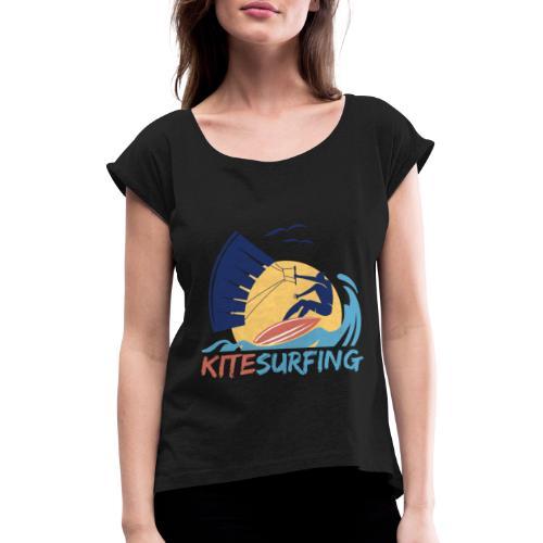 KITE Kiten Kiteboarding Kitesurfen Surf Vintage - Frauen T-Shirt mit gerollten Ärmeln