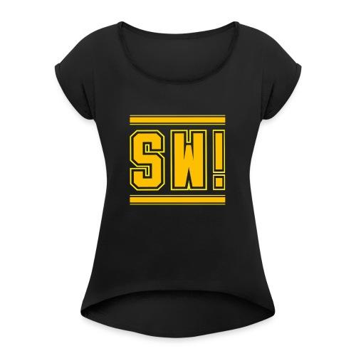 SUPER WANG!, Kontrast Hoodie, schwarz-gelb, mit Lo - Frauen T-Shirt mit gerollten Ärmeln