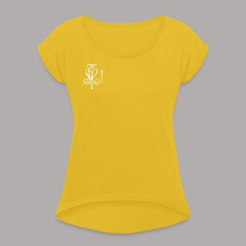 Zirkel, weiss (vorne) - Frauen T-Shirt mit gerollten Ärmeln