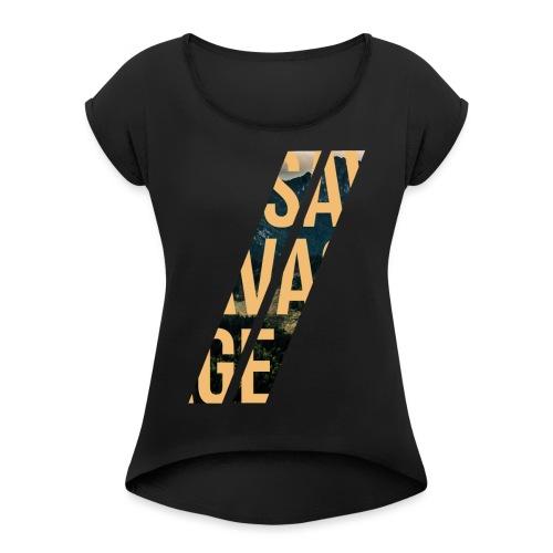 //Savage - Maglietta da donna con risvolti