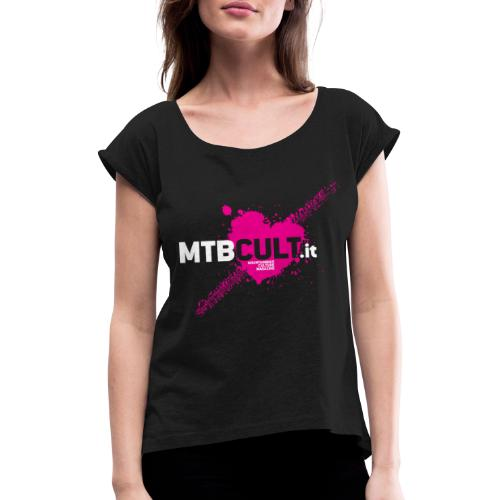 MTB Cult_Schizzi-rosa - Maglietta da donna con risvolti