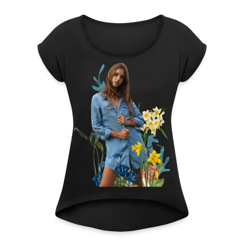 flowers Emily - Women's T-Shirt with rolled up sleeves