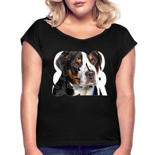 Grosser - Naisten T-paita, jossa rullatut hihat