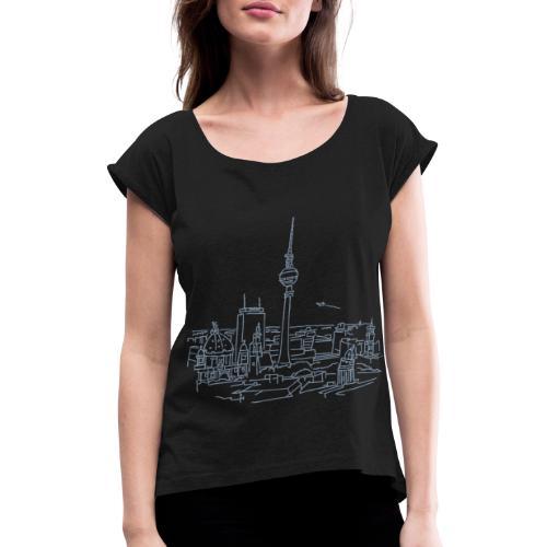 Berlin Panorama - Frauen T-Shirt mit gerollten Ärmeln