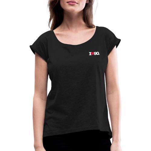I love 90s Logo weiß/rot - Frauen T-Shirt mit gerollten Ärmeln
