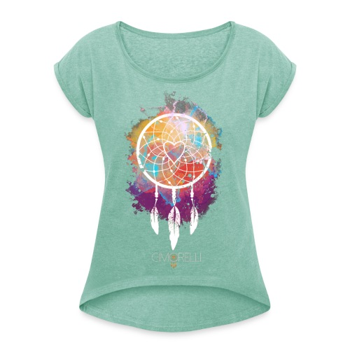 cimorelli dreamcatcher art black2 - Women's T-Shirt with rolled up sleeves
