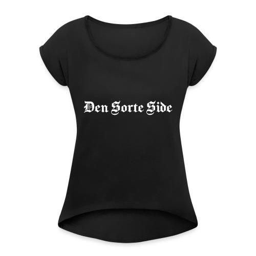 text3701 white - Dame T-shirt med rulleærmer