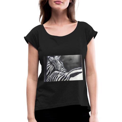 creation zebre fait main - T-shirt à manches retroussées Femme