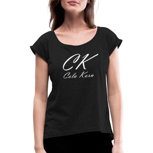 CK Logo 200 transparent - Frauen T-Shirt mit gerollten Ärmeln