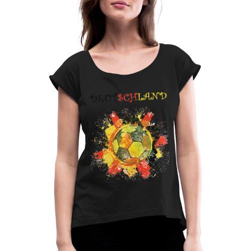 deutschland fanshirt 2018 - Frauen T-Shirt mit gerollten Ärmeln