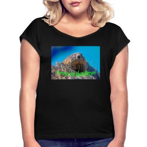 Servus in den Bergen - Frauen T-Shirt mit gerollten Ärmeln