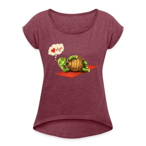 Love-Yoga Turtle - Frauen T-Shirt mit gerollten Ärmeln