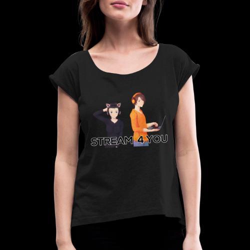 Logo2 0Black 1 - Frauen T-Shirt mit gerollten Ärmeln