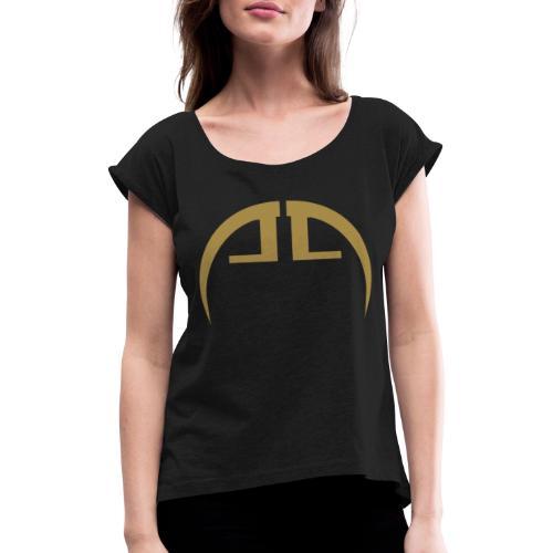 halb gold - Frauen T-Shirt mit gerollten Ärmeln