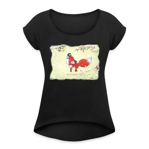 Hopsender Fuchs im Schnee - Frauen T-Shirt mit gerollten Ärmeln