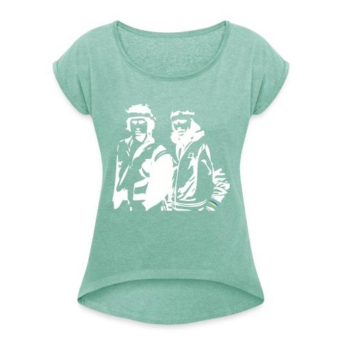 Borg McEnroe Retro Green+White - Naisten T-paita, jossa rullatut hihat
