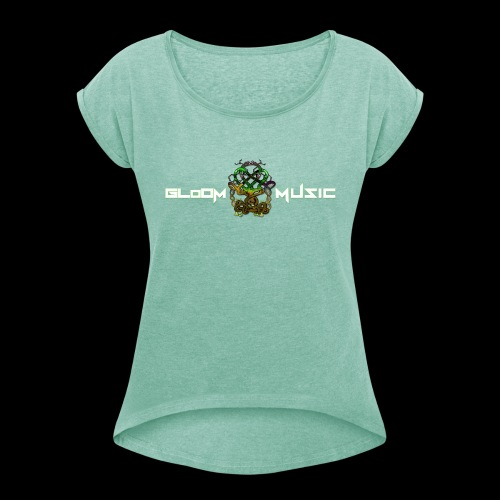 GloOm Music Tree - Women's T-Shirt with rolled up sleeves