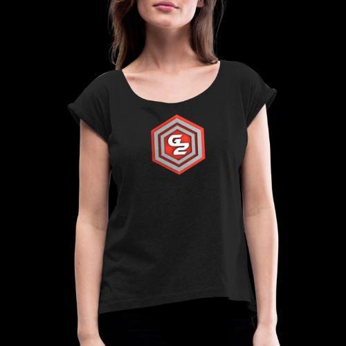 G2 - T-shirt med upprullade ärmar dam