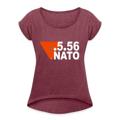 .5.56 NATO BLANC - T-shirt à manches retroussées Femme
