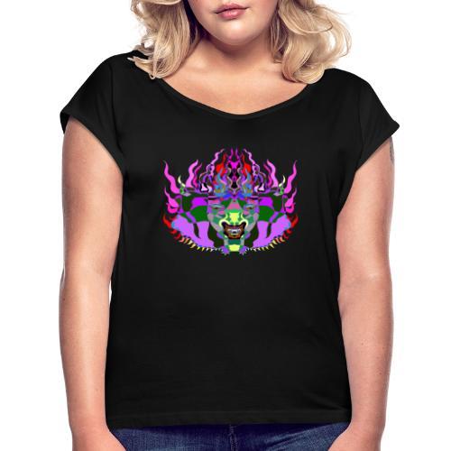 Holy Demon - Frauen T-Shirt mit gerollten Ärmeln