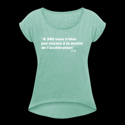 380 (blanc) - T-shirt à manches retroussées Femme