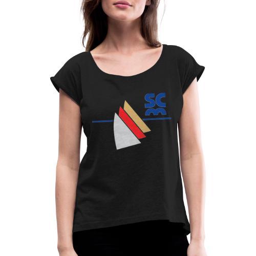 Modernes SCM Logo - Frauen T-Shirt mit gerollten Ärmeln