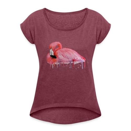 Pink Flamingo Watercolors Nadia Luongo - Maglietta da donna con risvolti