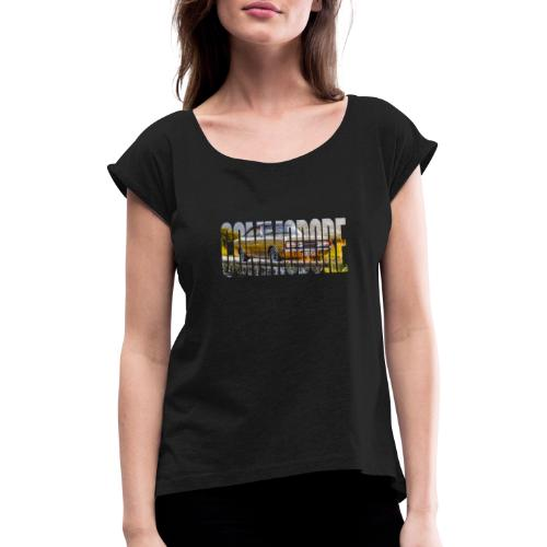 rekord commo word design - Vrouwen T-shirt met opgerolde mouwen
