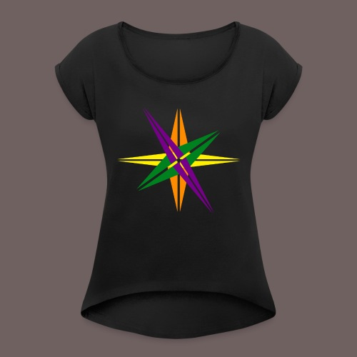 GBIGBO zjebeezjeboo - Love - Couleur d'étoile brillante - T-shirt à manches retroussées Femme