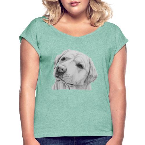 labrador retriever yellow - head - Dame T-shirt med rulleærmer