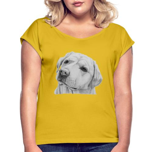 labrador retriever yellow - head - Dame T-shirt med rulleærmer