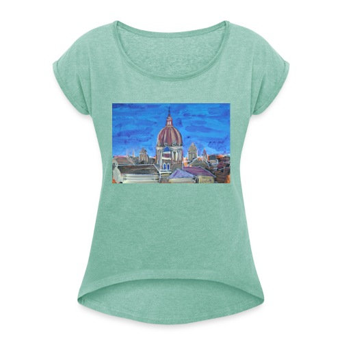 Veduta di Roma - Maglietta da donna con risvolti